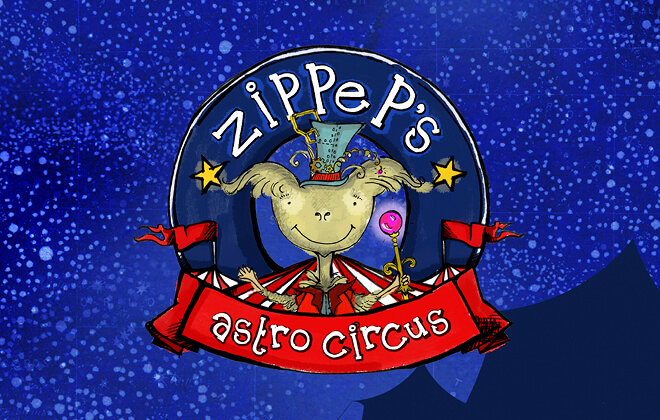 The main character Zippep, sat above a red curved banner and circus tent in the starry night's sky