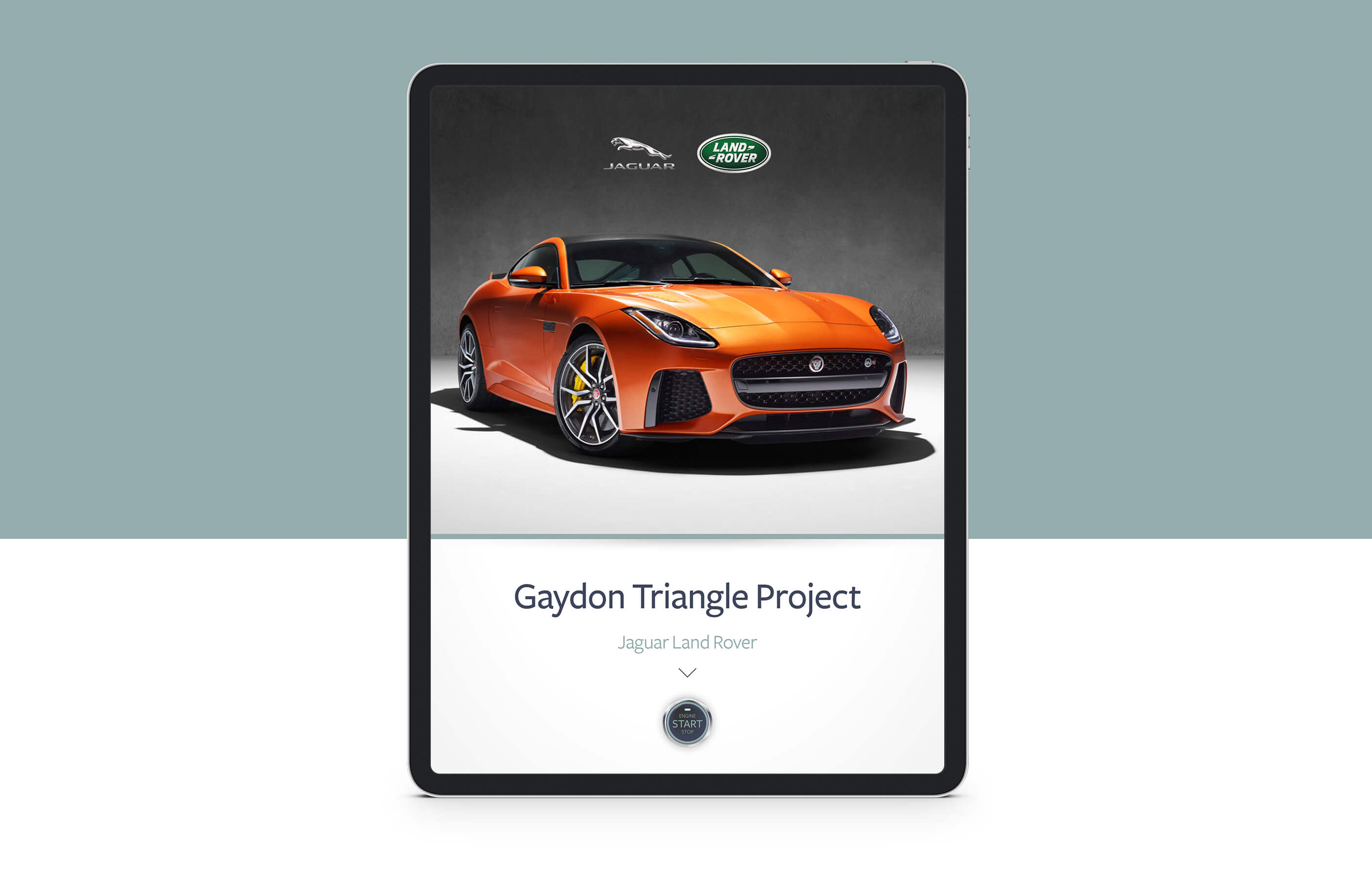 Front facing iPad Pro mock up showing the JLR Gaydon Triangle Project splash screen