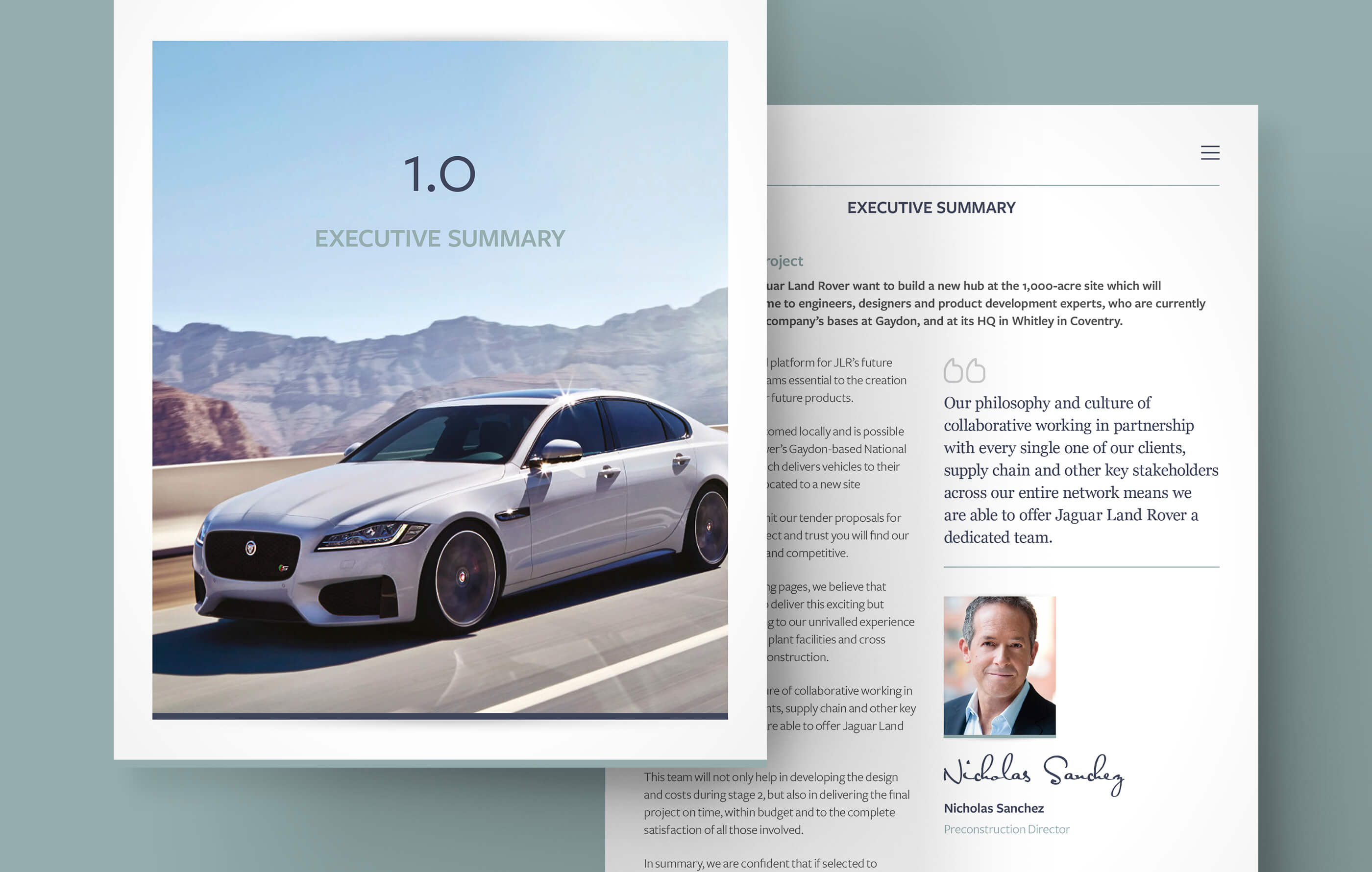 User interface design of a section intro screen featuring a Jaguar XF overlapping an executive summary screen