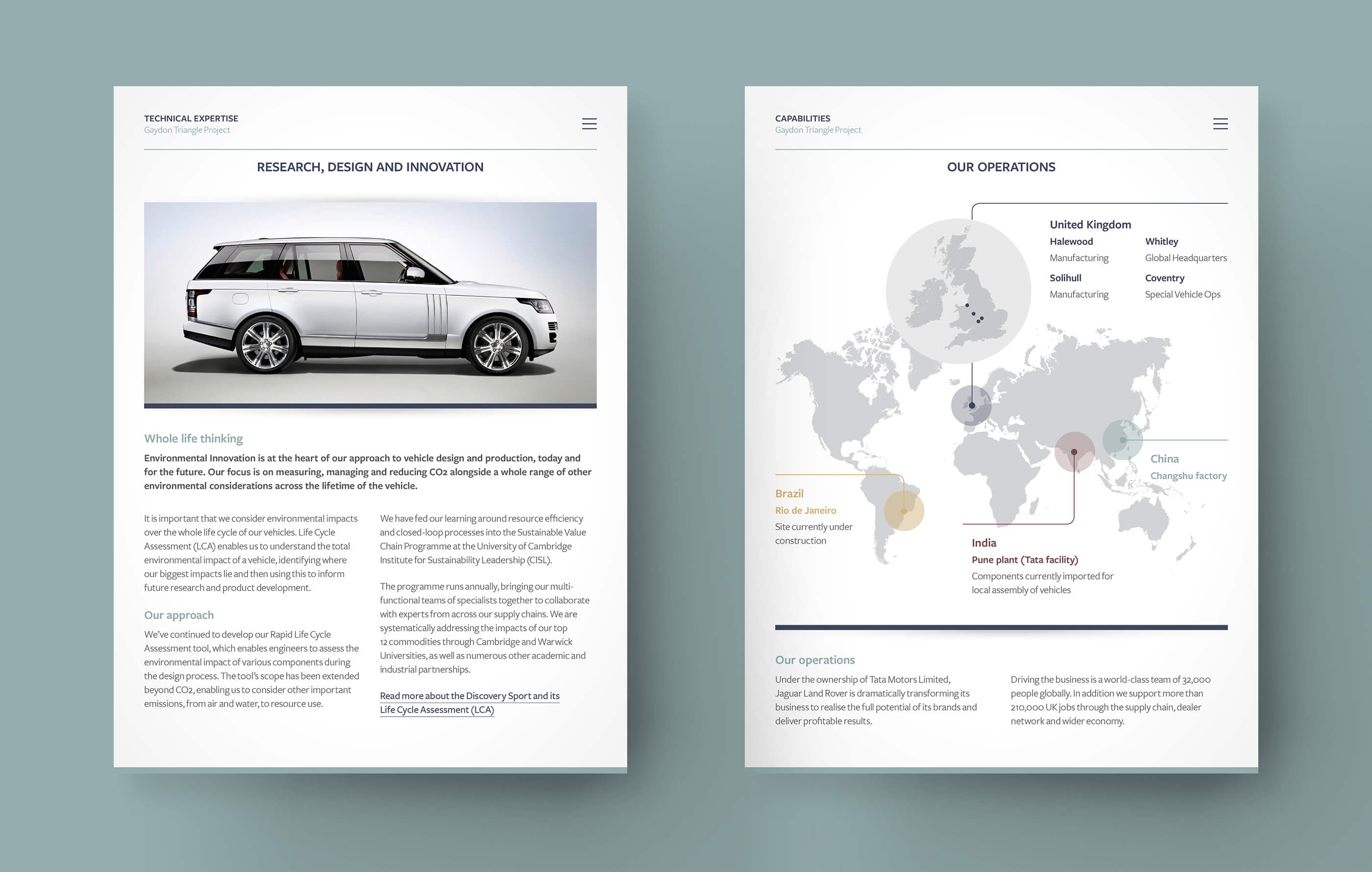 Two app screenshots on a teal background, detailing Jaguar Land Rover's design and innovation approach and global operations map