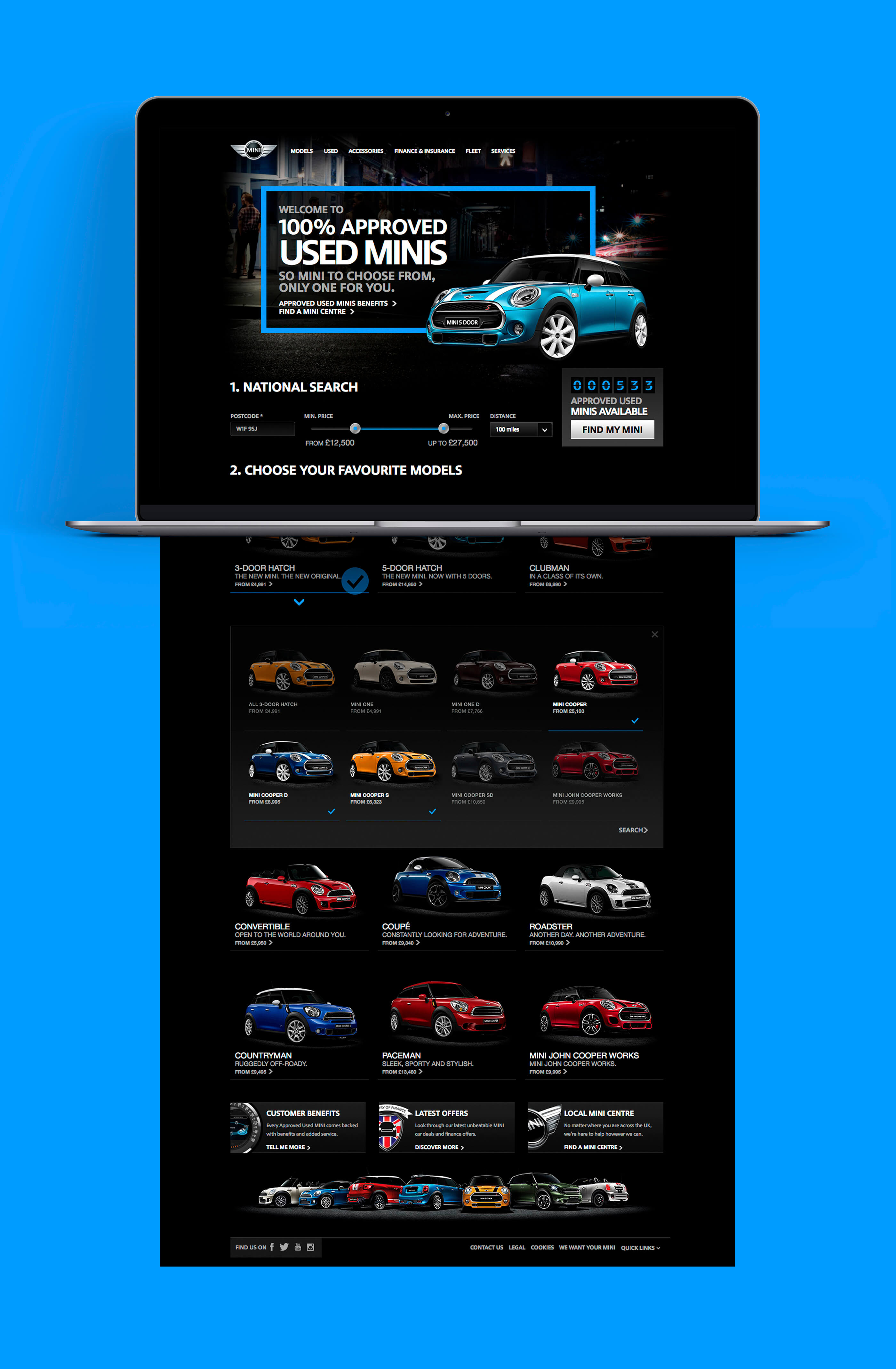 Full homepage design for BMW Mini, superimposed onto an Apple MacBook on a bright blue background