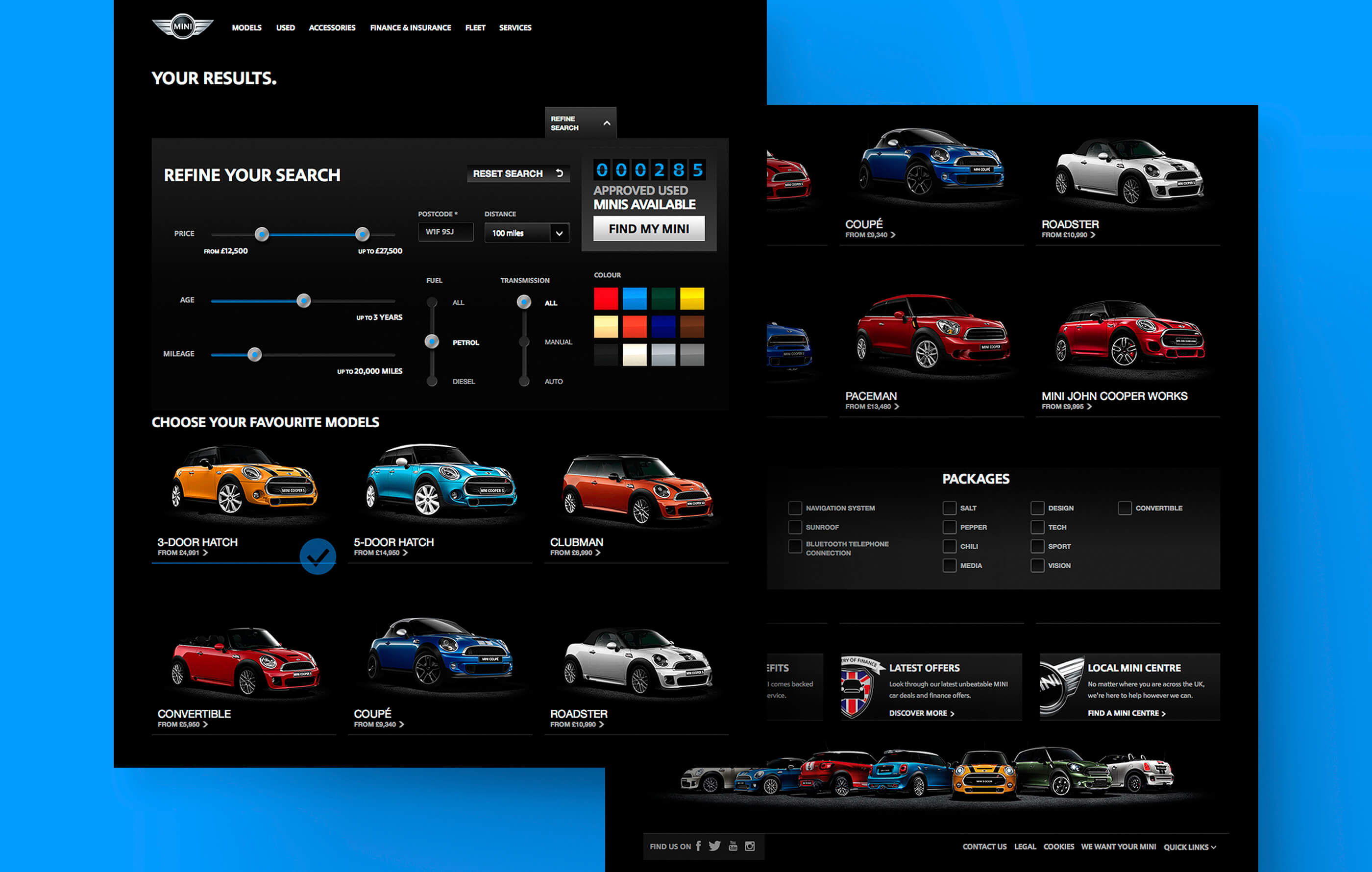Final render of the BMW Mini vehicle results page and user search options on a desktop