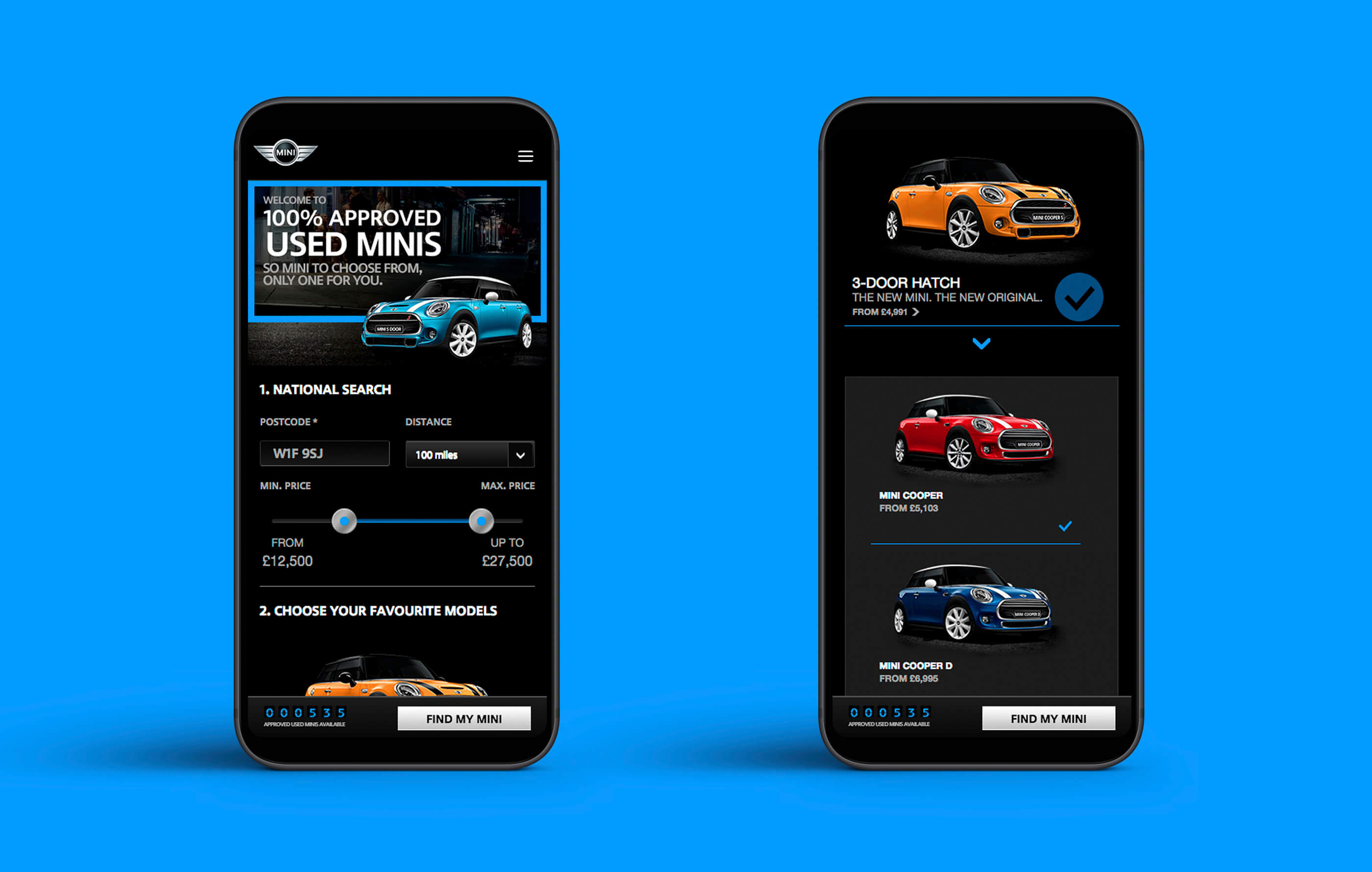Mock up of the BMW Mini homepage within two black mobile phones on a blue background