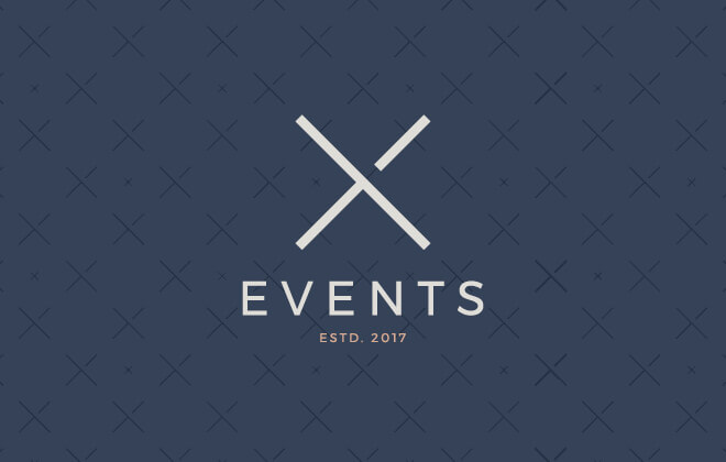 X Events primary logo, in grey and pink, on a dark blue pattern background
