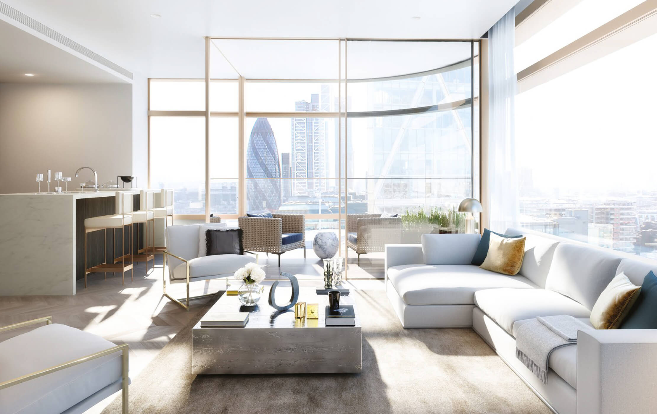 3D CGI render of a spacious apartment interior, with commanding views of The Gherkin (30 St Mary Axe) and the city