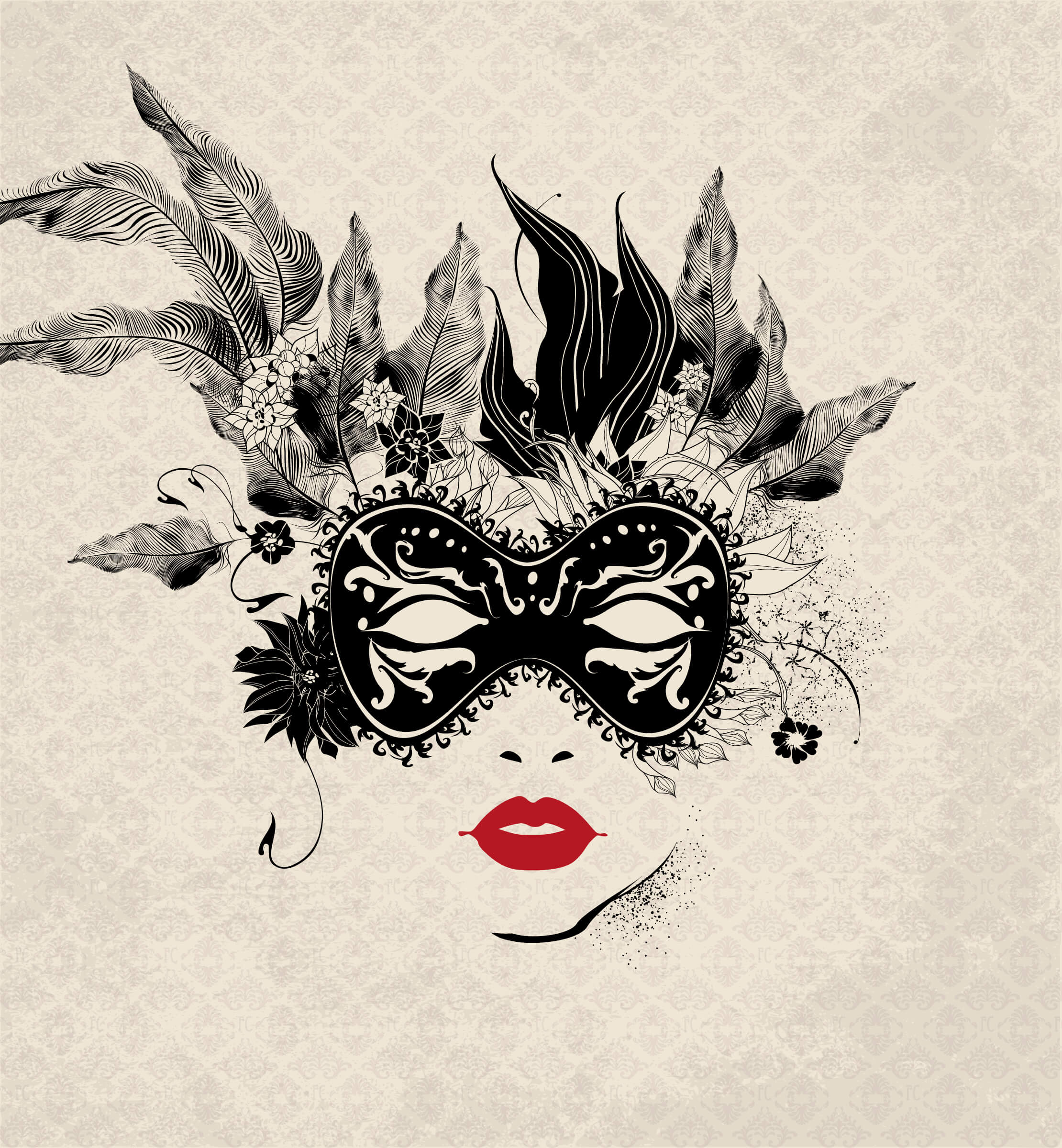 Hand drawn illustration of a masked female face on a beige patterned background, all in black ink apart from her deep red lips
