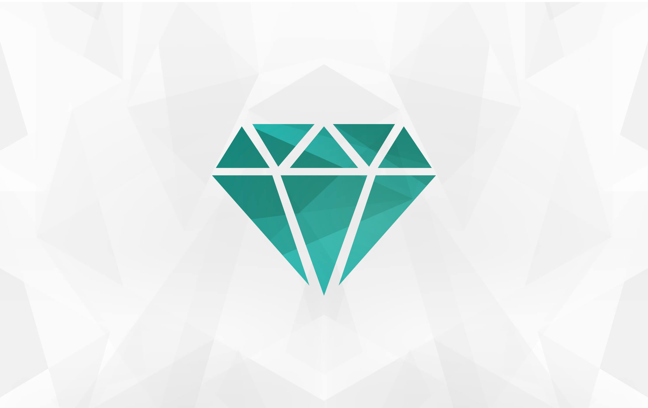 Simple vector shape of a diamond, coloured emerald green and split into triangles on a geometric light sand background
