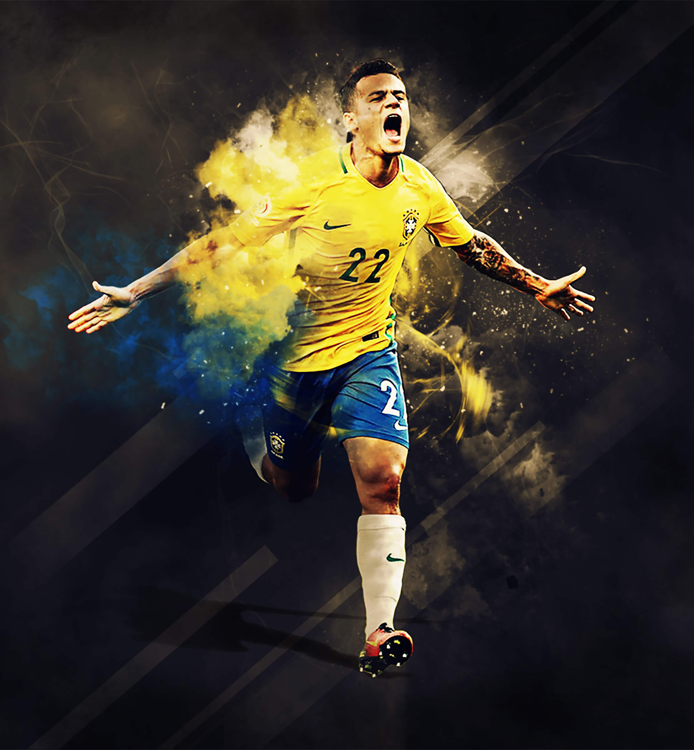 Brazilian professional footballer Philippe Coutinho wearing a yellow football shirt with number 22 on it and blue shorts