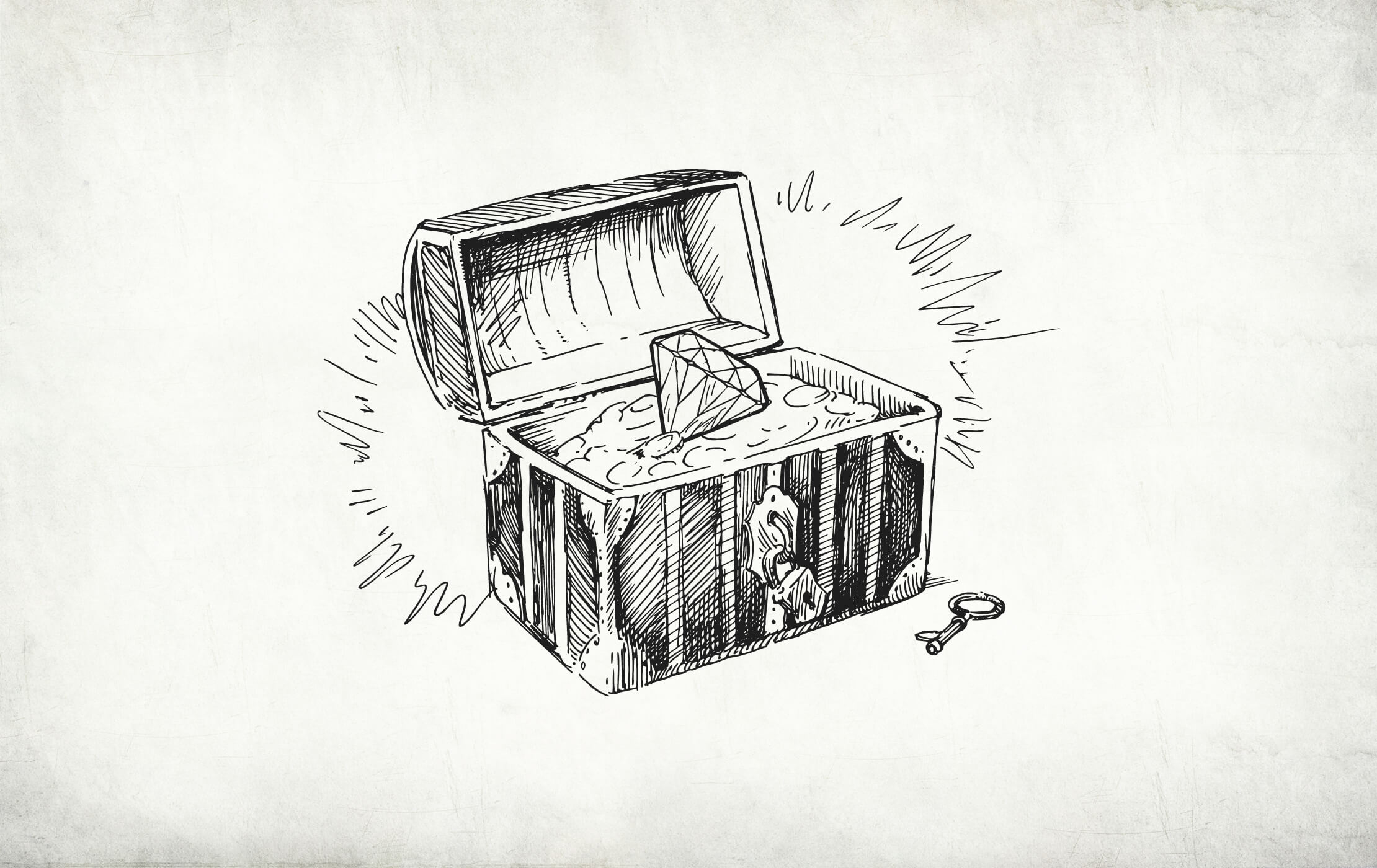 Rough hand-drawn illustration of an old wooden chest, lid open, full of sand and a huge diamond on a vintage, weathered background