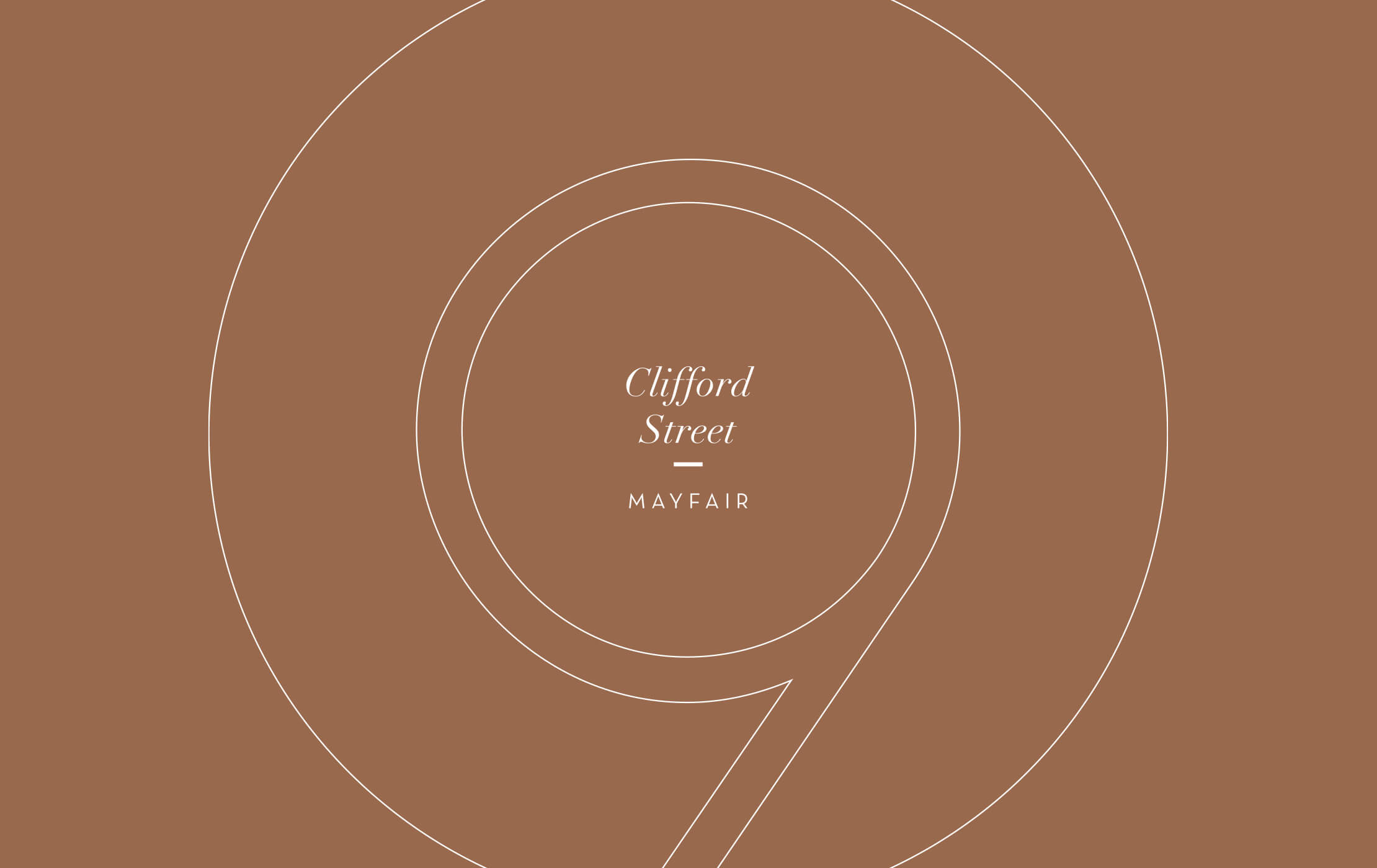 White 9 Clifford Street logo printed on a dark gold brochure cover