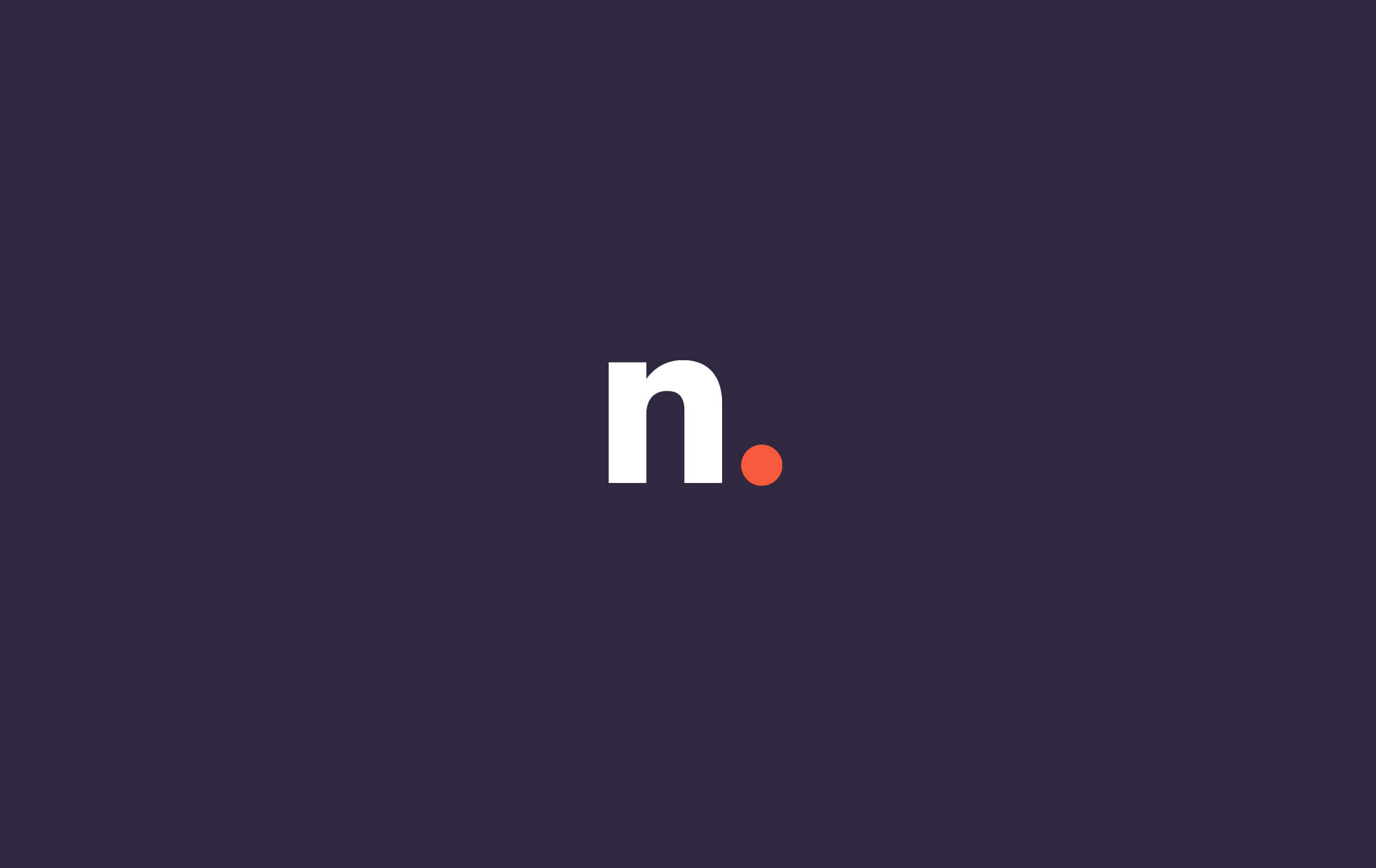 Rebranded logomark lowercase letter N, in white, with an orange full stop on a dark purple background