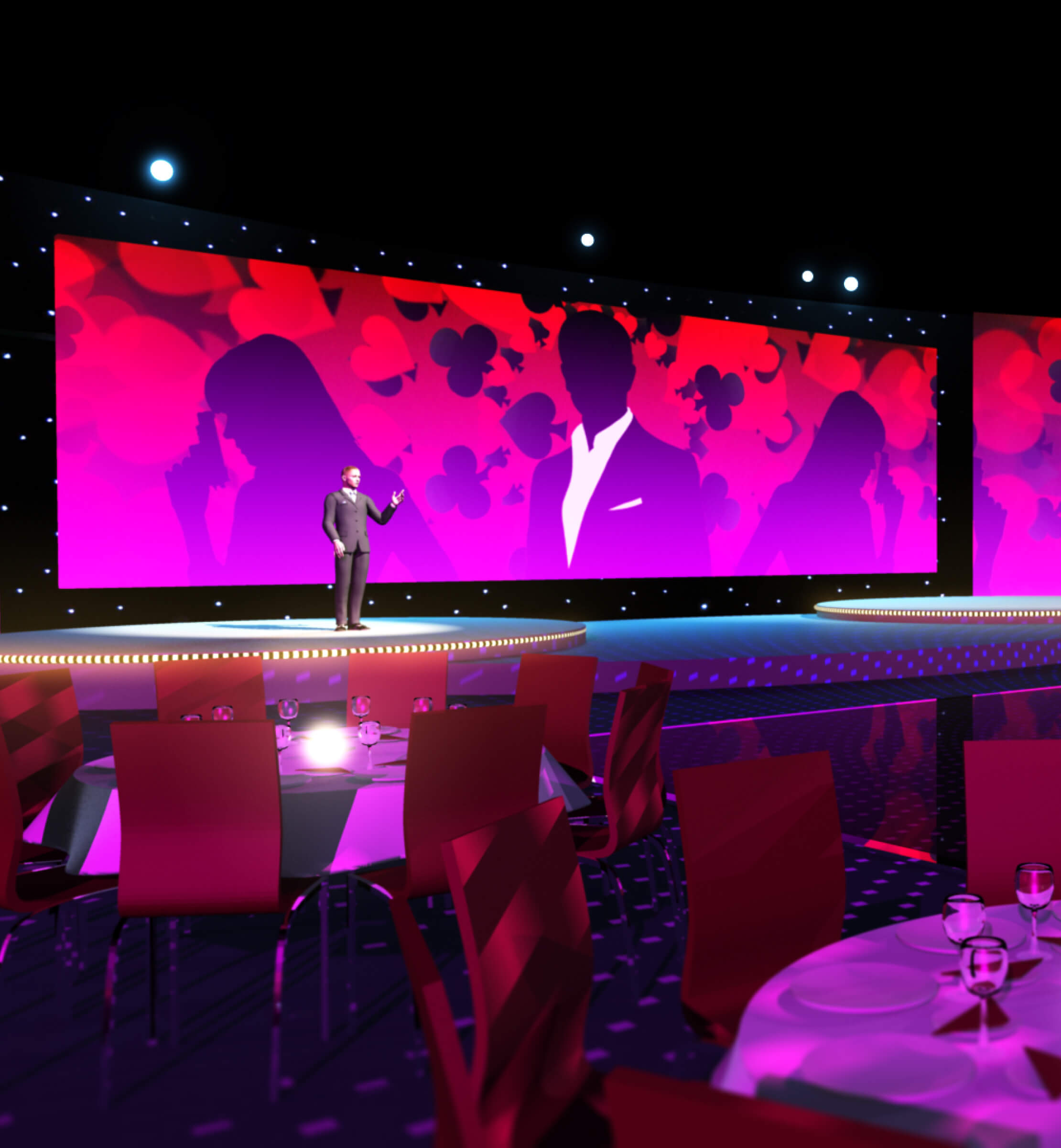 3D render of the themed animated stage backdrop and presenter on stage at the Dixons Retail Peak event